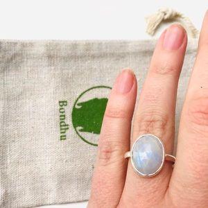 Rainbow Moonstone Multifacet Sterling Silver Ring